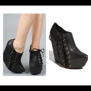 Jeffrey Campbell Zup Booties Black Lace Platform